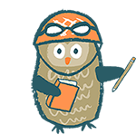 Pitch Wars owl holding a book and pencil